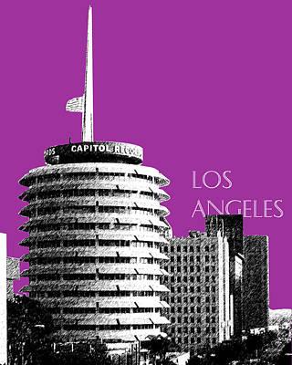 Los Angeles Skyline Digital Art - Los Angeles Skyline Capitol Records - Plum by DB Artist
