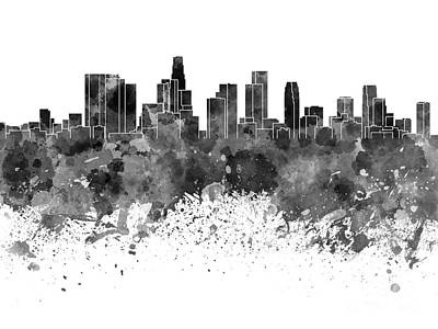 Los Angeles Skyline Painting - Los Angeles Skyline In Black Watercolor On White Background by Pablo Romero