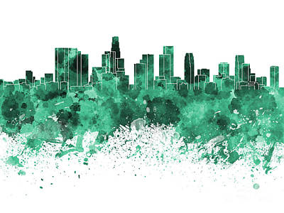 Los Angeles Skyline Painting - Los Angeles Skyline In Green Watercolor On White Background by Pablo Romero