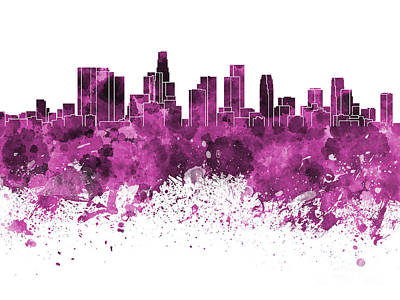 Los Angeles Skyline Painting - Los Angeles Skyline In Pink Watercolor On White Background by Pablo Romero