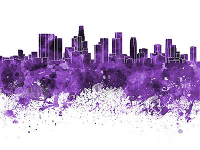 Los Angeles Skyline Painting - Los Angeles Skyline In Purple Watercolor On White Background by Pablo Romero