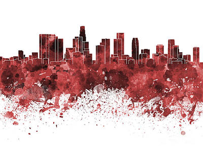 Los Angeles Skyline Painting - Los Angeles Skyline In Red Watercolor On White Background by Pablo Romero