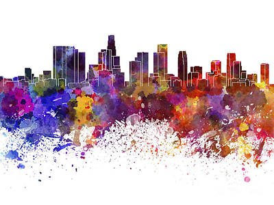 Los Angeles Skyline Painting - Los Angeles Skyline In Watercolor On White Background by Pablo Romero