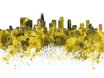 Los Angeles Skyline Painting - Los Angeles Skyline In Yellow Watercolor On White Background by Pablo Romero