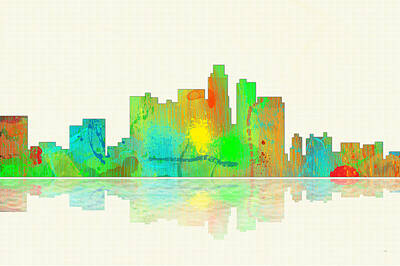 Los Angeles Skyline Digital Art - Los Angeles California Skyline by Marlene Watson