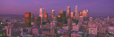 Los Angeles, Skyline, Sunset, California Print by Panoramic Images