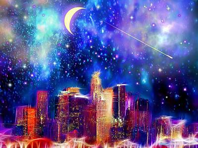 Los Angeles Skyline Painting - Los Angeles Starry Night by Daniel Janda