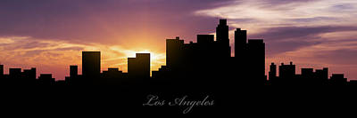 Los Angeles Skyline Digital Art - Los Angeles Sunset by Aged Pixel