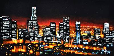 Los Angeles Skyline Painting - Los Angeles by Thomas Kolendra