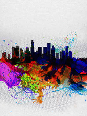 Los Angeles Skyline Painting - Los Angeles  Watercolor Skyline 2 by Naxart Studio