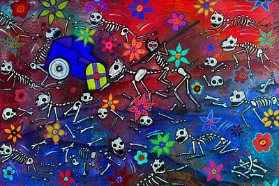 Day Of The Dead Painting - Los Gatos Guerreros by Pristine Cartera Turkus