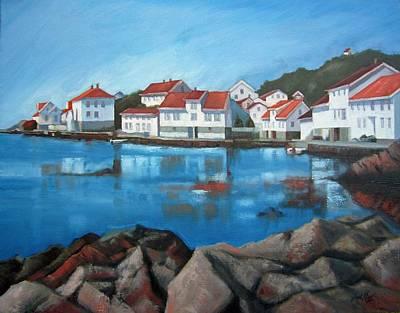 Norwegian Fishing Village Painting - Loshavn by Janet King