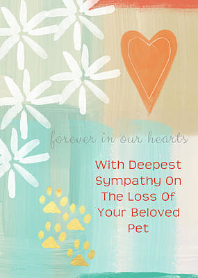 Loss Of Beloved Pet Card Print by Linda Woods