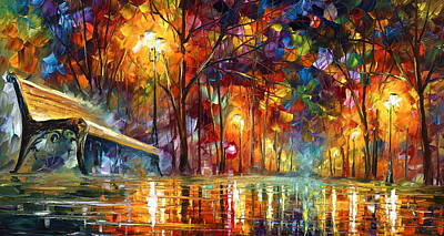 Park Benches Painting - Lost Love by Leonid Afremov