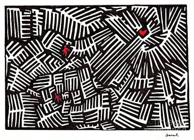 Maze Drawing - Lost Love by Sarah Loft