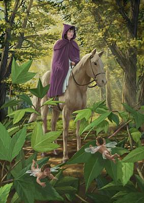 Lost Princess On Horseback Print by Martin Davey