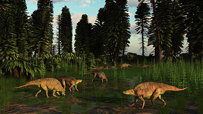 Triassic Photograph - Lotosaurus Reptiles Dig For Clams by Arthur Dorety
