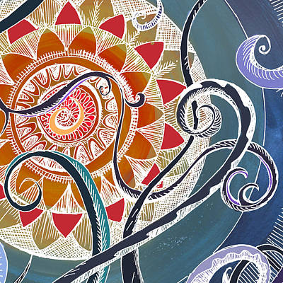 Tendrils Mixed Media - Lotus by Brenda Erickson
