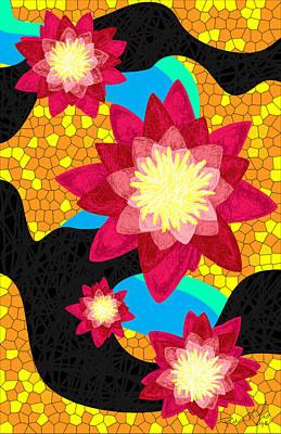 Lotus Flower Bombs In Magenta Print by Pierre Louis