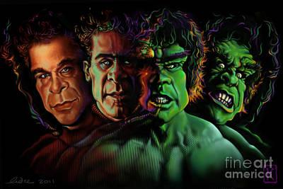 Digital Drawing Drawing - Lou Ferrigno Hulk by Andre Koekemoer