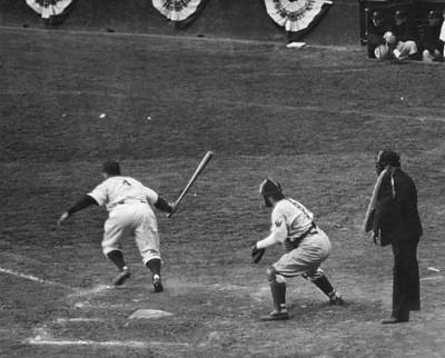 Lou Gehrig Gets A Hit Print by Underwood Archives