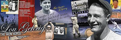 Iron Photograph - Lou Gehrig Panoramic by Retro Images Archive