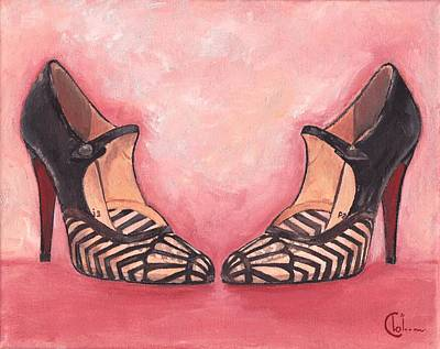 Nouveau Flapper Girl Heels  Print by Cecely Bloom