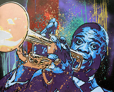 Stencil Art Painting - Louis Armstrong by Bobby Zeik
