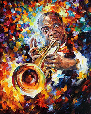 Louis Armstrong - Palette Knife Oil Painting On Canvas By Leonid Afremov Original by Leonid Afremov
