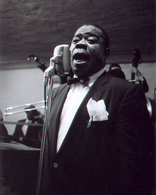 Louis Armstrong Sings Into The Mic. Print by Retro Images Archive