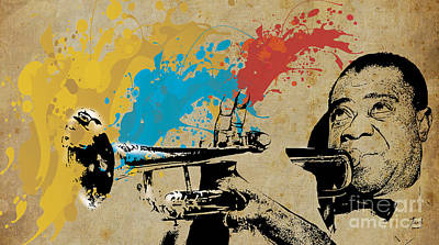 Musicos Drawing - Louis Armstrong Trumpet And Colors by Pablo Franchi
