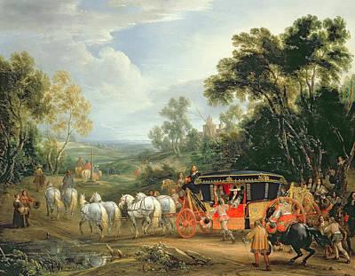 En Route Painting - Louis Xiv In His State Coach by Adam Frans van der Meulen