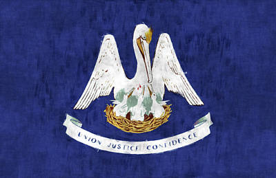 Stork Digital Art - Louisiana Flag by World Art Prints And Designs