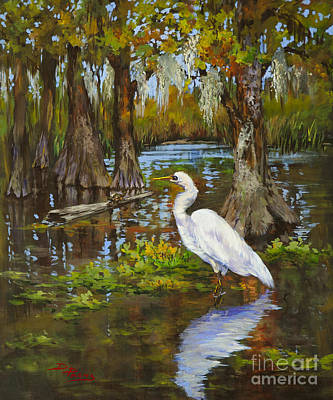 Shrimp Boat Painting - Louisiana Heron by Dianne Parks