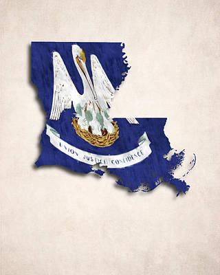 Stork Digital Art - Louisiana Map Art With Flag Design by World Art Prints And Designs