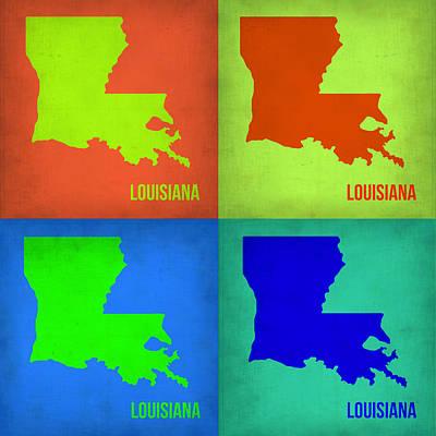 Louisiana Digital Art - Louisiana Pop Art Map 1 by Naxart Studio