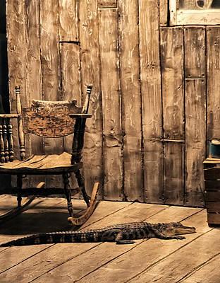 Louisiana Porch Alligator Original by Chris Flees