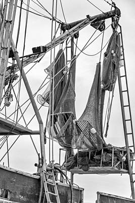 Louisiana Shrimp Boat Nets Bw Print by Steve Harrington