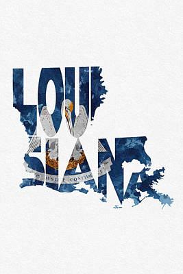 Louisiana Typographic Map Flag Print by Ayse Deniz