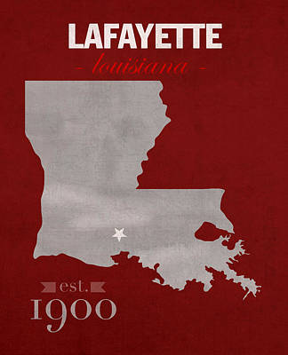 Louisiana State University Mixed Media - Louisiana University Lafayette Ragin Cajuns College Town State Map Poster Series No 057 by Design Turnpike