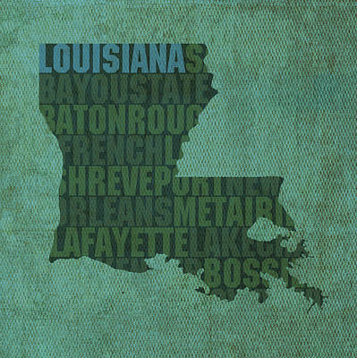 Map Mixed Media - Louisiana Word Art State Map On Canvas by Design Turnpike