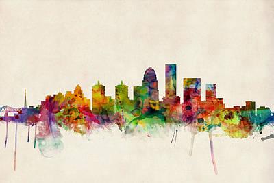 Louisville Kentucky City Skyline Print by Michael Tompsett