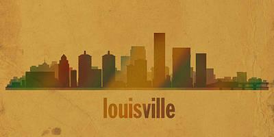 Kentucky Mixed Media - Louisville Kentucky City Skyline Watercolor On Parchment by Design Turnpike