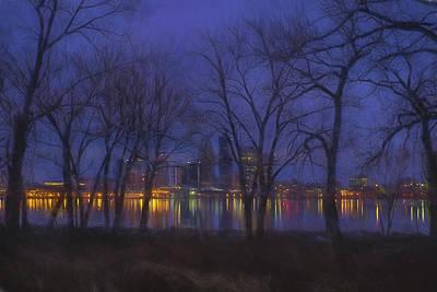 Clarksville Photograph - Louisville Kentucky Night Skyline Digital Paint by David Haskett