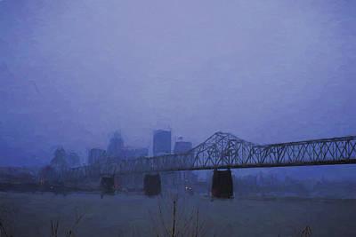 Clarksville Photograph - Louisville Kentucky Skyline Digital Painting by David Haskett