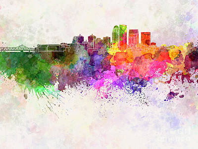 Kentucky Painting - Louisville Skyline In Watercolor Background by Pablo Romero