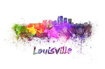 Kentucky Painting - Louisville Skyline In Watercolor by Pablo Romero