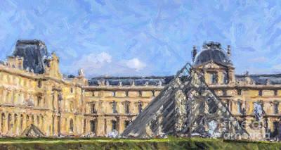 Paris Digital Art - Louvre Pyramid by Liz Leyden