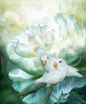 Lovebird Mixed Media - Love  Among The Peonies by Carol Cavalaris