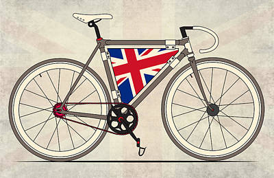 Bicycling Digital Art - Love Bike Love Britain by Andy Scullion